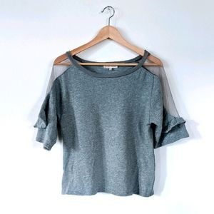3/$15 Gilded Intent Grey Ruffle Sleeve Top XS